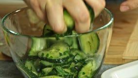 Kvinnamat som utformar och lagar mat laxfisken med ris och gurkan arkivfilmer