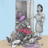 Kvinnamaterialnedgångar ut ur en garderob vektor illustrationer