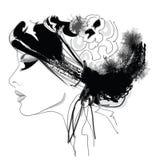 Kvinnamodemodell med hatten stock illustrationer