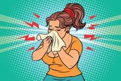 Kvinnan är den sjuka rinnande näsan och näsduken Arkivfoto