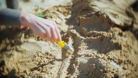 Kvinnan är förlovad, i att gräva ben i skelett- och arkeologiska hjälpmedlen de sand, arkivfilmer