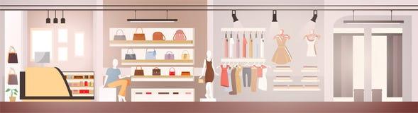 Kvinnan beklär boutiquevisningslokalen eller ställer ut vektorn stock illustrationer