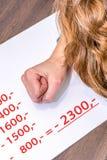 Kvinnan beräknar kostnader och överskrider således hennes finansiella gräns royaltyfri fotografi