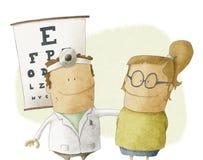 Kvinnan besöker ögonläkaredoktorn Stock Illustrationer