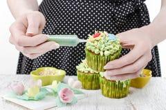 Kvinnan dekorerar gröna felika muffin Royaltyfria Bilder