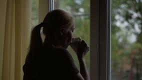 Kvinnan dricker en varm drink från ett koppanseende på fönstret och blickar på regnet till och med exponeringsglaset stock video
