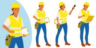 Kvinnan för byggnadsinspektören poserar uppsättningen för infographics eller annonsering royaltyfri illustrationer
