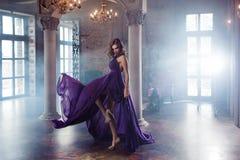 Kvinnan för skönhetbrunettmodellen i aftonlilor klär Makeup och frisyr för härligt mode lyxig royaltyfri fotografi