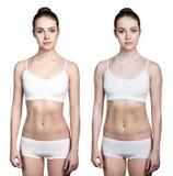 Kvinnan förlorar före och efter vikt arkivfoton