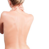 Kvinnan från den tillbaka nakna kroppen, smärtar begrepp royaltyfria bilder