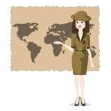 Kvinnan framlägger geografin av loppet stock illustrationer