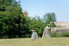 Kvinnan gör någon yoga flyttar sig nära till monolitiska stenar som är avebury royaltyfri bild