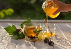Kvinnan gör te och hällande honung arkivbilder