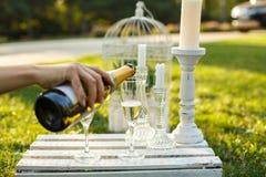 Kvinnan häller champagne från flaskan till exponeringsglas på solig gräsplan parkerar arkivfoto