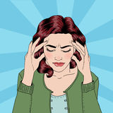 Kvinnan har en huvudvärk Kvinnaspänning home spänning stock illustrationer