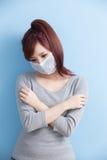 Kvinnan har ett sjukt Fotografering för Bildbyråer