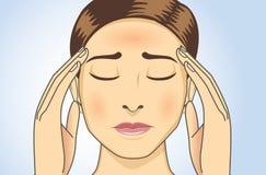 Kvinnan har huvudvärker och feber royaltyfri illustrationer