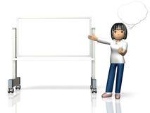 Kvinnan har presentation på whiteboarden. Fotografering för Bildbyråer