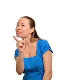 Kvinnan hotar ditt finger royaltyfria bilder