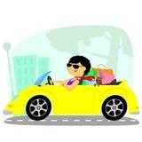Kvinnan i bilen Royaltyfria Bilder