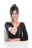 Kvinnan i en appellmitt - stötta operatören med en hörlurar med mikrofon, isolat Royaltyfri Bild