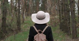 Kvinnan i en hatt g?r i tr?na stock video
