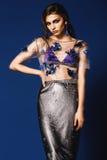 Kvinnan i genomskinlig överkant för blom- silver och lång silver kringgår Royaltyfria Bilder