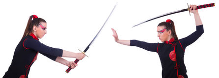 Kvinnan i japanskt kampsportbegrepp Royaltyfri Fotografi