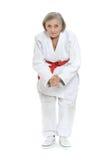 Kvinnan i karate poserar Arkivfoton
