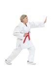 Kvinnan i karate poserar Royaltyfri Fotografi