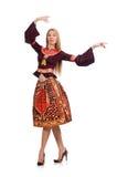 Kvinnan i klänning med isolerade orientaliska tryck Arkivbild