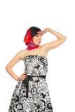 Kvinnan i klänning och rött stim ser afar arkivfoto
