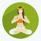 Kvinnan i lotusblomma placerar Stock Illustrationer