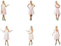 Kvinnan i modeblickar som isoleras på vit Royaltyfri Bild