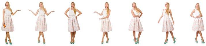 Kvinnan i modeblickar som isoleras på vit Royaltyfria Bilder