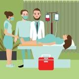 Kvinnan i sjukhus förbereder sig för att leverera geende födelse behandla som ett barn arbets- process med doktorn Royaltyfria Foton
