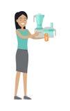 Kvinnan köper matberedaren på Sale på lågpriset vektor illustrationer