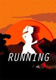 Kvinnan kör i skymning med sunsetbackground Stock Illustrationer