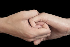 Kvinnan klämde henne fingrar i reliabilty gest royaltyfri fotografi
