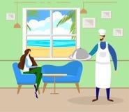 Kvinnan kopplar av i kafé på sjösidan med härlig sikt royaltyfri illustrationer