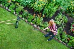 Kvinnan krattar i blommaträdgård fotografering för bildbyråer