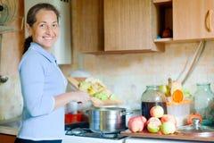Kvinnan lagar mat äppelmosdriftstopp Arkivfoton