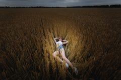 Kvinnan ligger i guld- veteåker Royaltyfri Foto