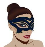 Kvinnan maskerar in Fotografering för Bildbyråer