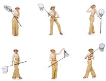 Kvinnan med att fånga netto på vit Royaltyfri Foto