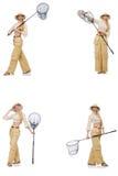 Kvinnan med att fånga netto på vit Royaltyfri Fotografi