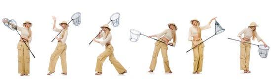 Kvinnan med att fånga netto på vit Royaltyfria Bilder