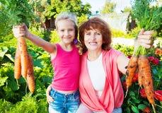 Kvinnan med barnet växer skörden i trädgården Arkivbild