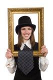 Kvinnan med bildramen som isoleras på vit Arkivbilder