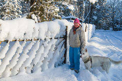 Kvinnan med en hund går på i ett vinterträ Royaltyfri Fotografi